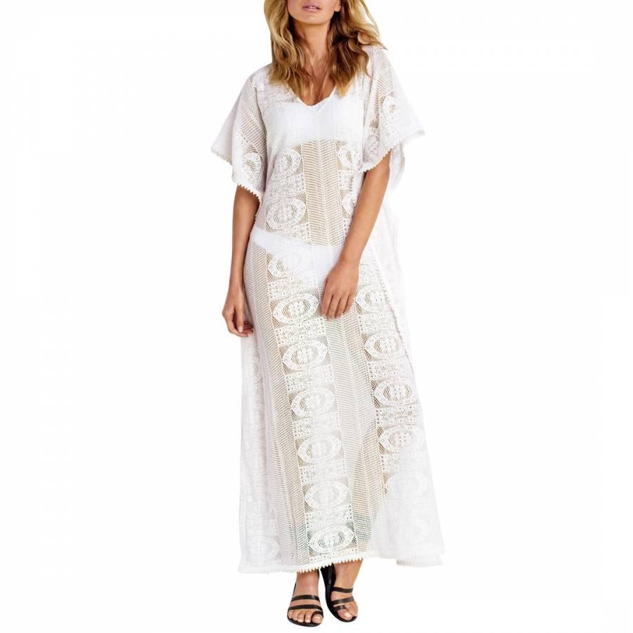 319090ea80a Milk White Floral Lace Maxi Kaftan - BrandAlley