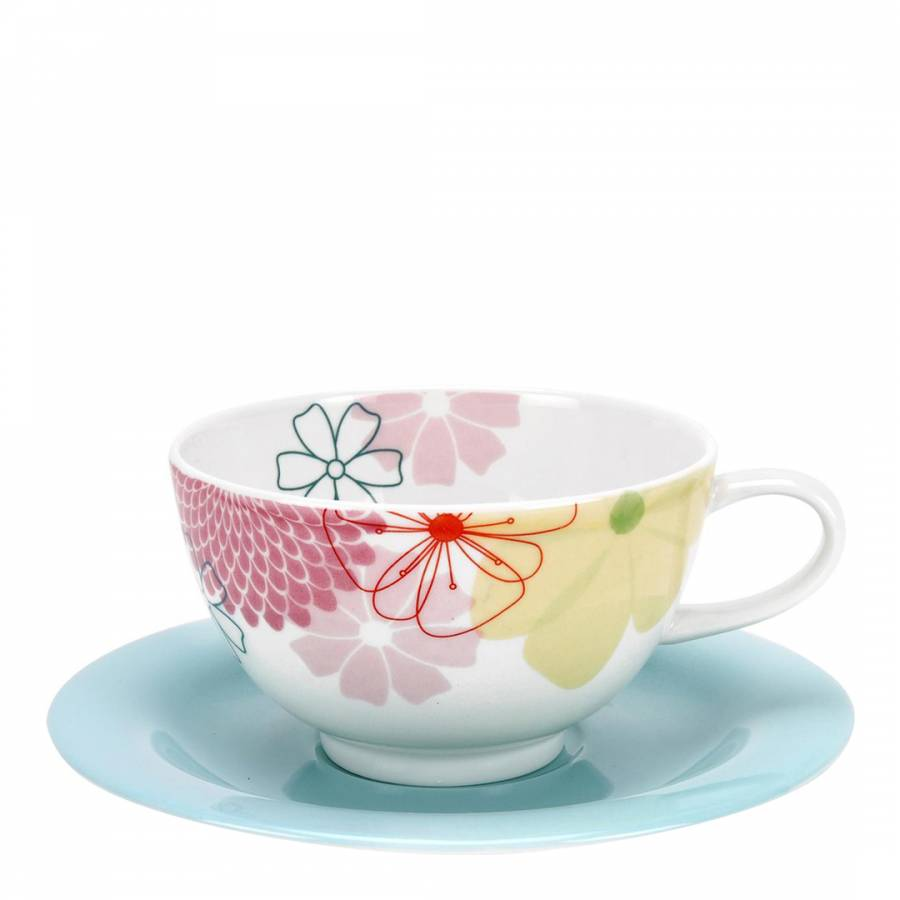 Crazy Daisy Set of 4 Breakfast Cups & Saucers - BrandAlley