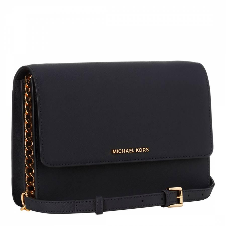 8bfe117d3890 Michael Kors Navy Leather Daniela Crossbody Bag