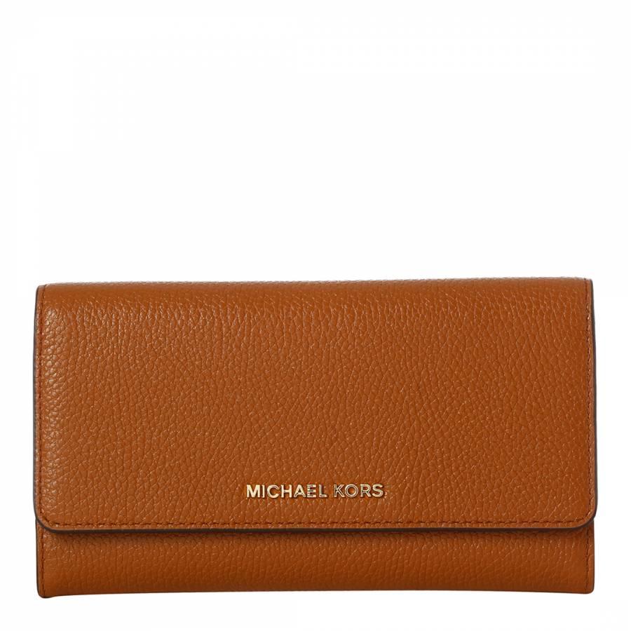 89b548db6bd2 Michael Kors Tan Leather Trifold Wallet