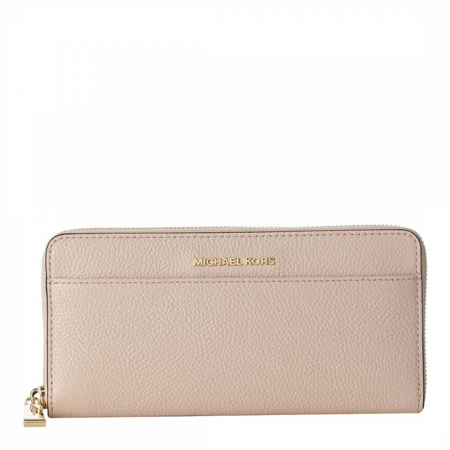 b0f60f86b76a Michael Kors Soft Pink Mercer Leather Continental Zip Around Wallet