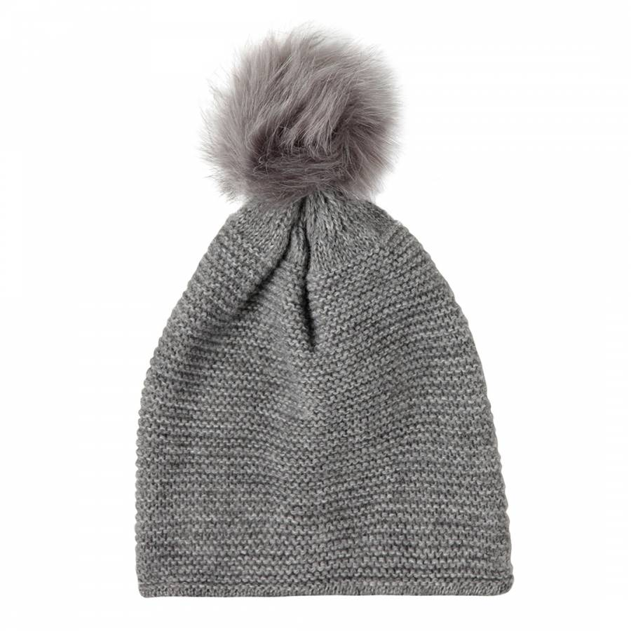 Grey Marl Cashmere Cable Knit Faux Fur Bobble Hat - BrandAlley 5a65b7c74801
