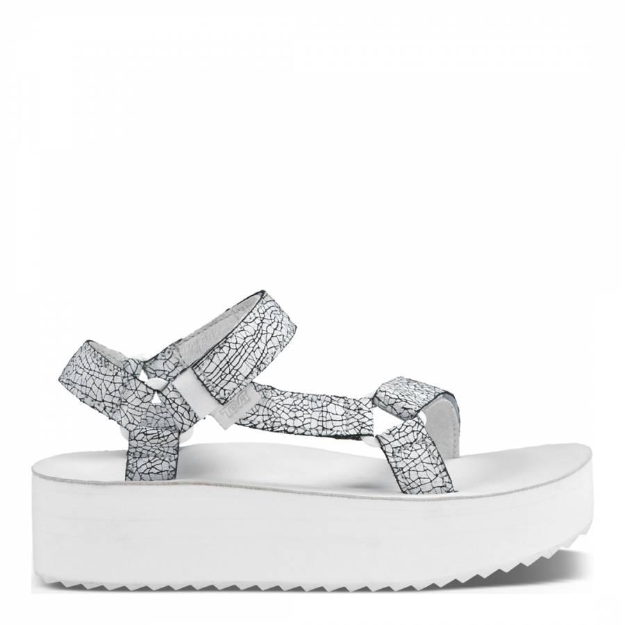 d6af6cbe9ee Teva Womens White Crackle Leather Universal Flatform Sandal. prev. next.  Zoom