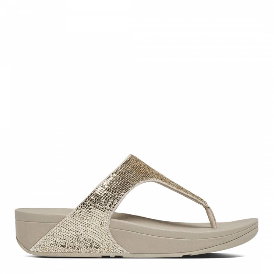 0eedef0423f92a Pale Gold Electra Micro Crystal Toe Post Sandals - BrandAlley