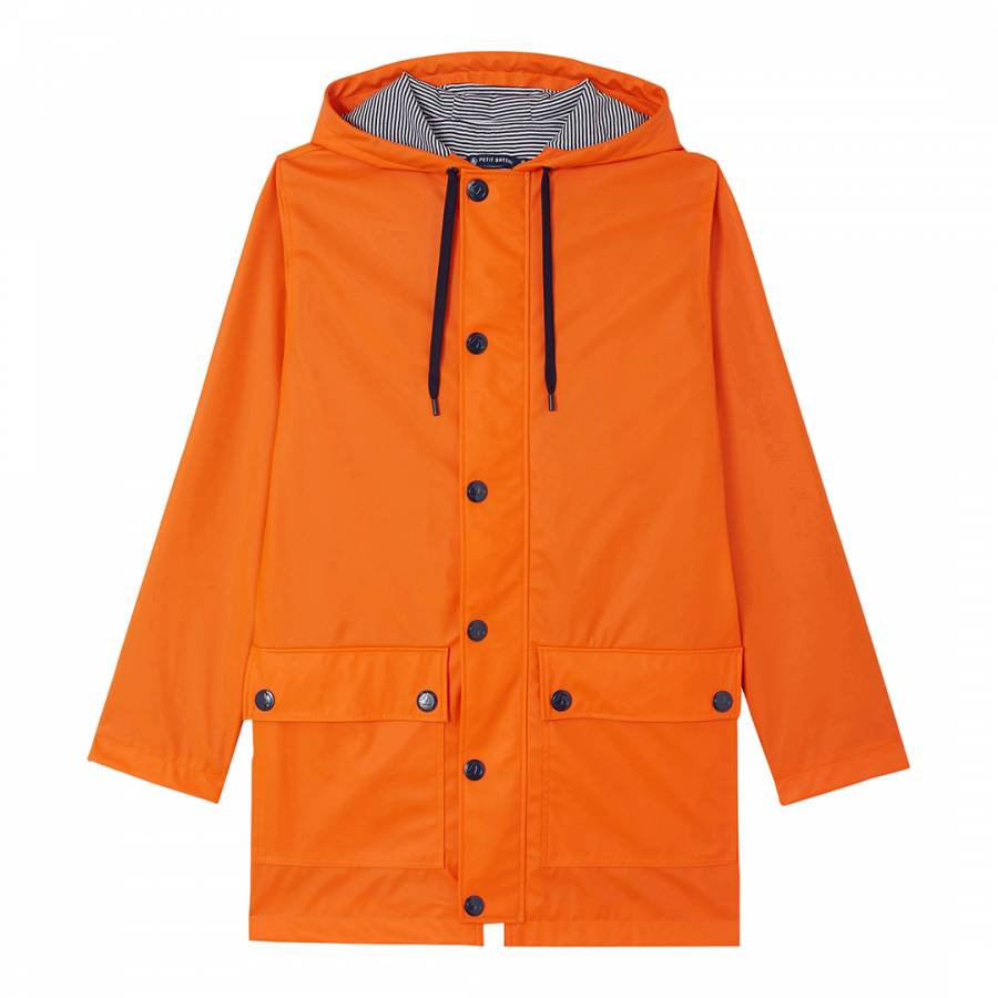 Orange Pu Waterproof Hooded Raincoat Brandalley