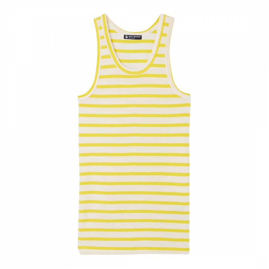 2522f9dd5365b2 Yellow White Cotton Vest Top - BrandAlley