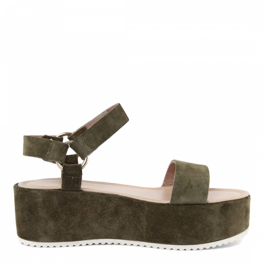 e3a80798d49c Green Suede Flatform Sandals - BrandAlley