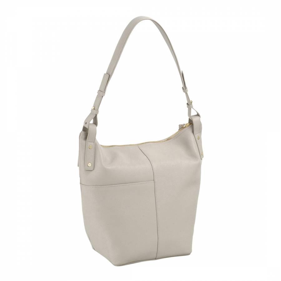 9d63b499430 Natural Large Leather Kensal Ziptop Hobo Bag - BrandAlley