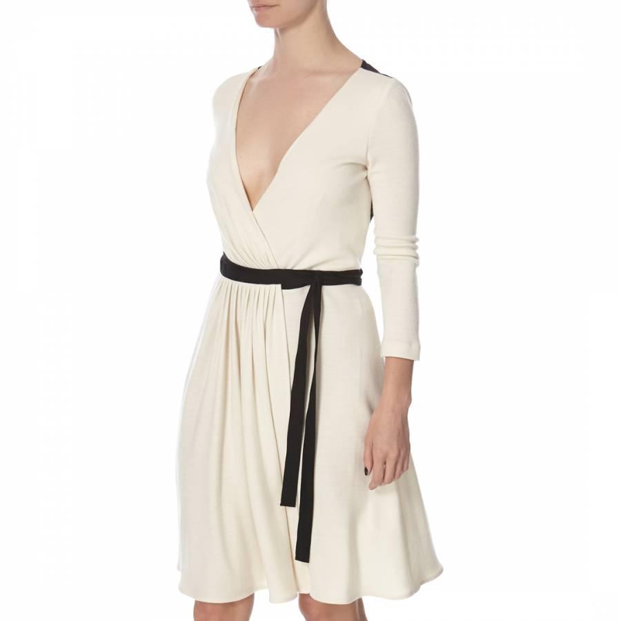 92002fcdeeb9 Diane von Furstenberg Cream/Black Wool Seduction Wrap Dress