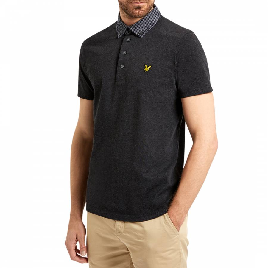 Grey Woven Collar Jersey Polo Cotton Shirt Brandalley
