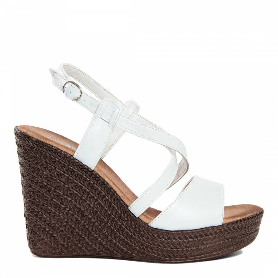 7cac3187c White Leather Multi Strap Wedges - BrandAlley