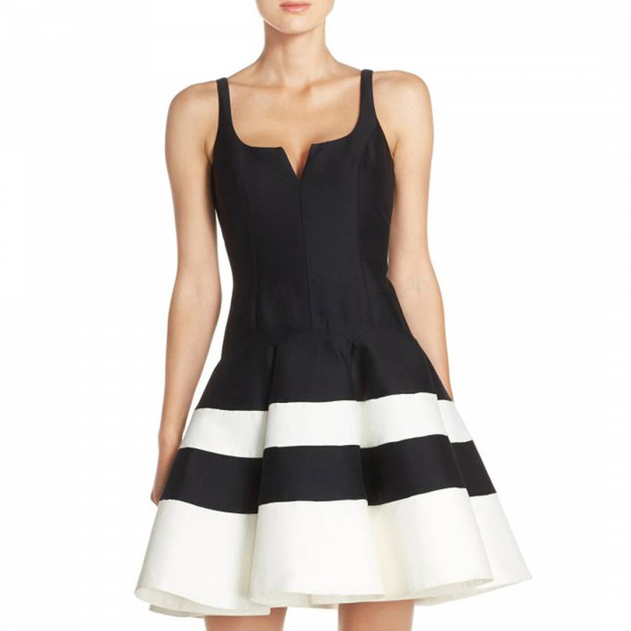 Halston Heritage Black/Chalk Faille Fit And Flare Cotton/Silk Dress