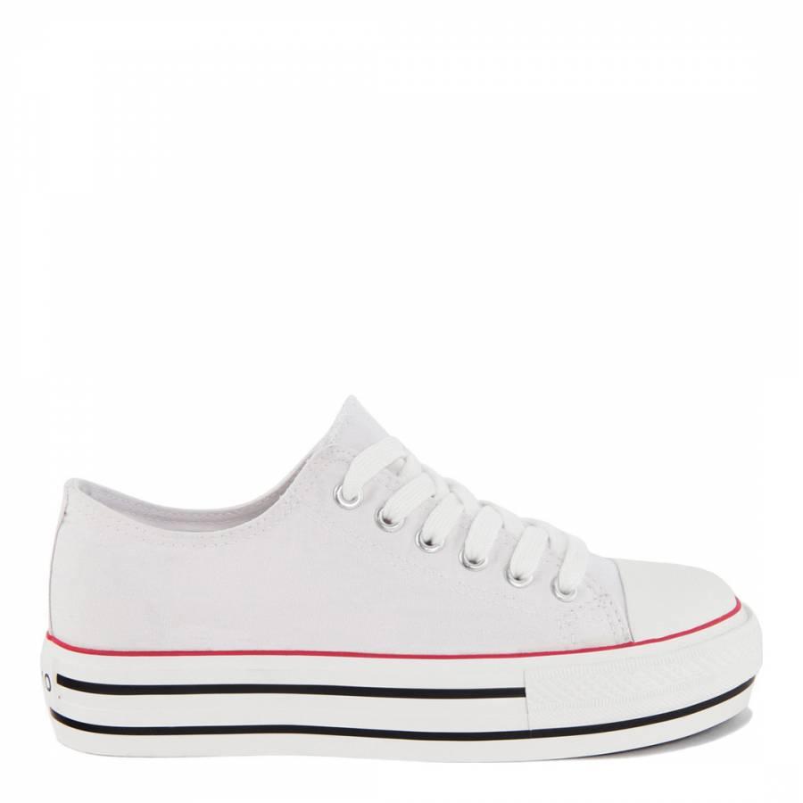0ec2d0a6e White Canvas Lace Up Kira Platform Sneakers - BrandAlley