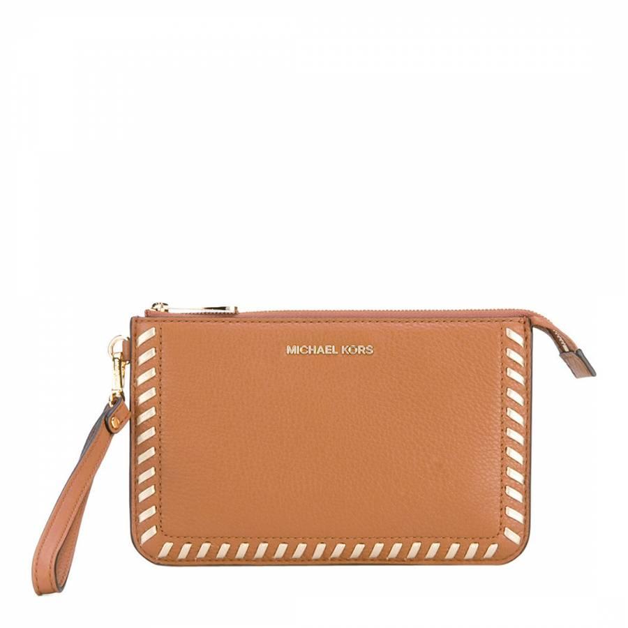 38015ca01615c6 Michael Kors Acorn Leather Lauryn Clutch Bag