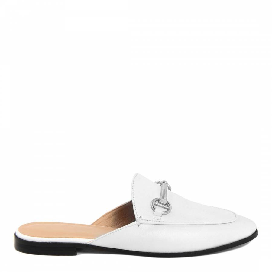 White Leather Slip On Loafers - BrandAlley