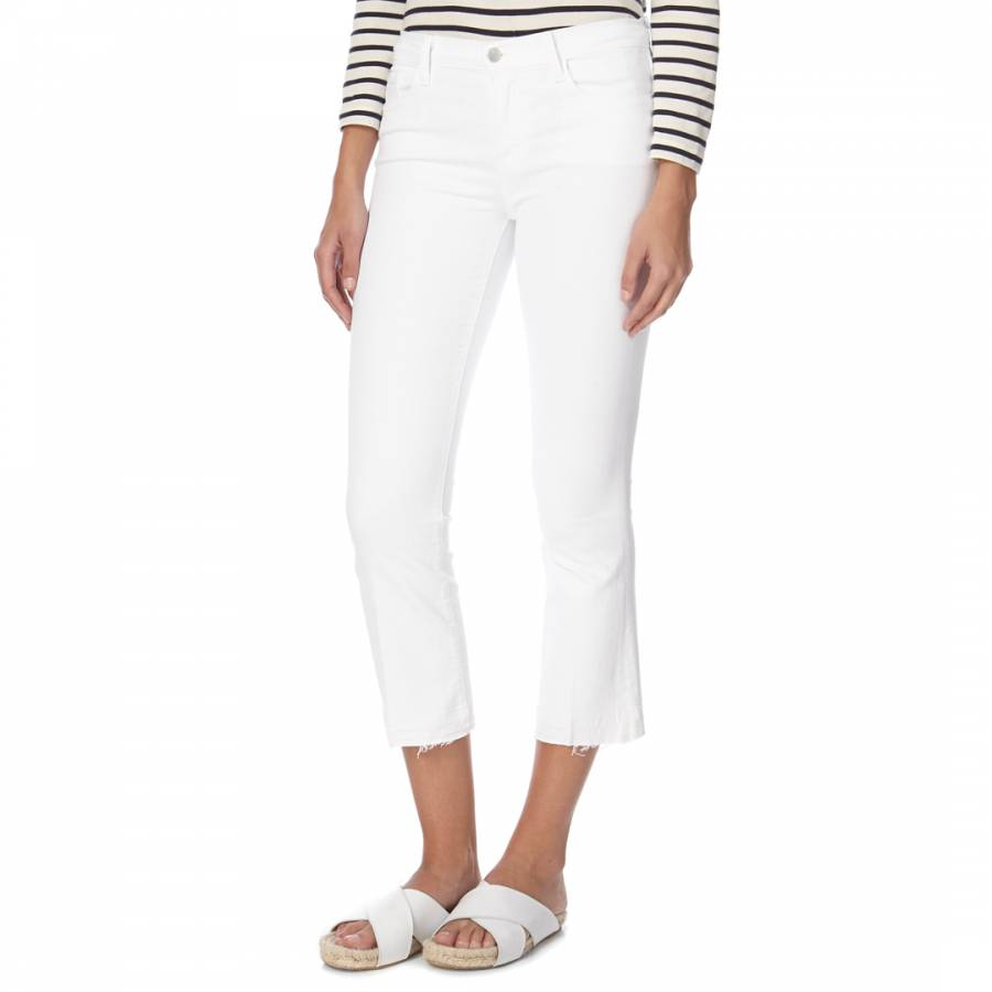 d977a65d856c4 White Selena Mid Rise Boot Cut Cropped Stretch Jeans - BrandAlley