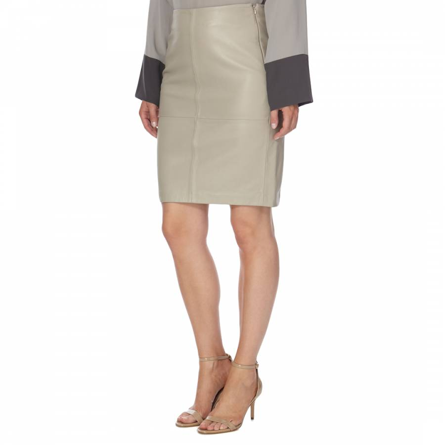 b817a4122 Beige Pearl Leather Cecilia Skirt - BrandAlley