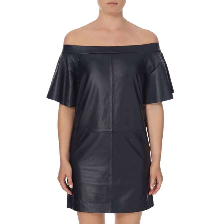 Navy Leather Sumi Bardot Dress - BrandAlley