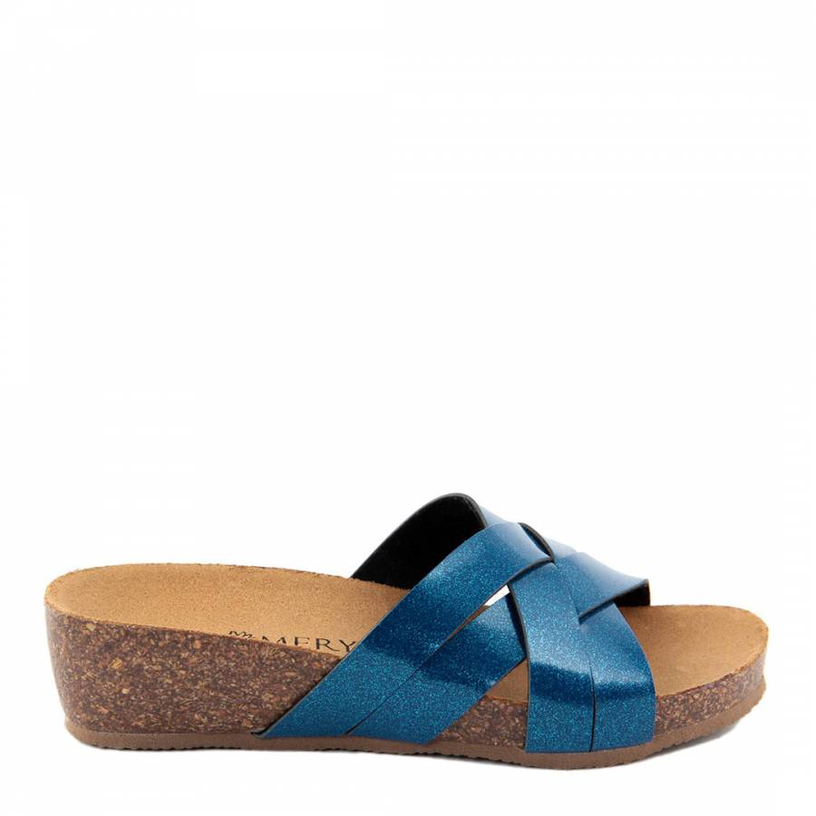 14b001bf7483 Royal Blue Glitter Cross Front Footbed Sandals - BrandAlley