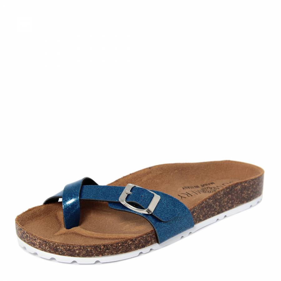 020c3f4e26b1 Royal Blue Glitter Toe Thong Buckle Front Footbed Sandals - BrandAlley