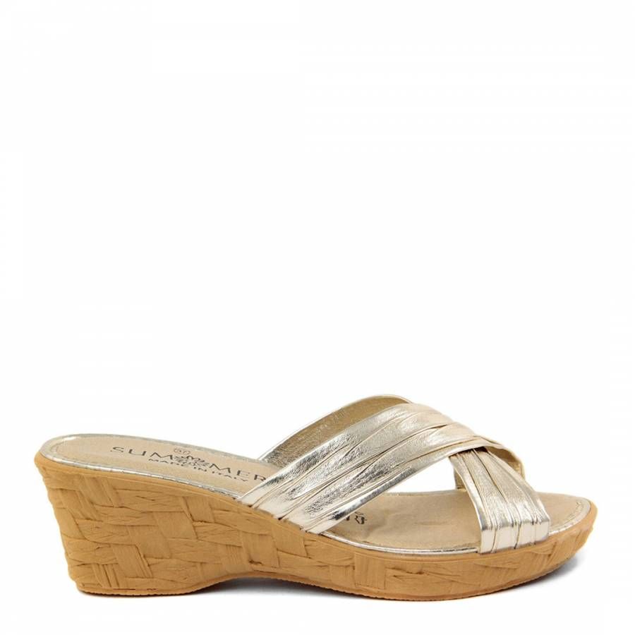 e0441b4ae Gold Metallic Cross Front Wedges - BrandAlley