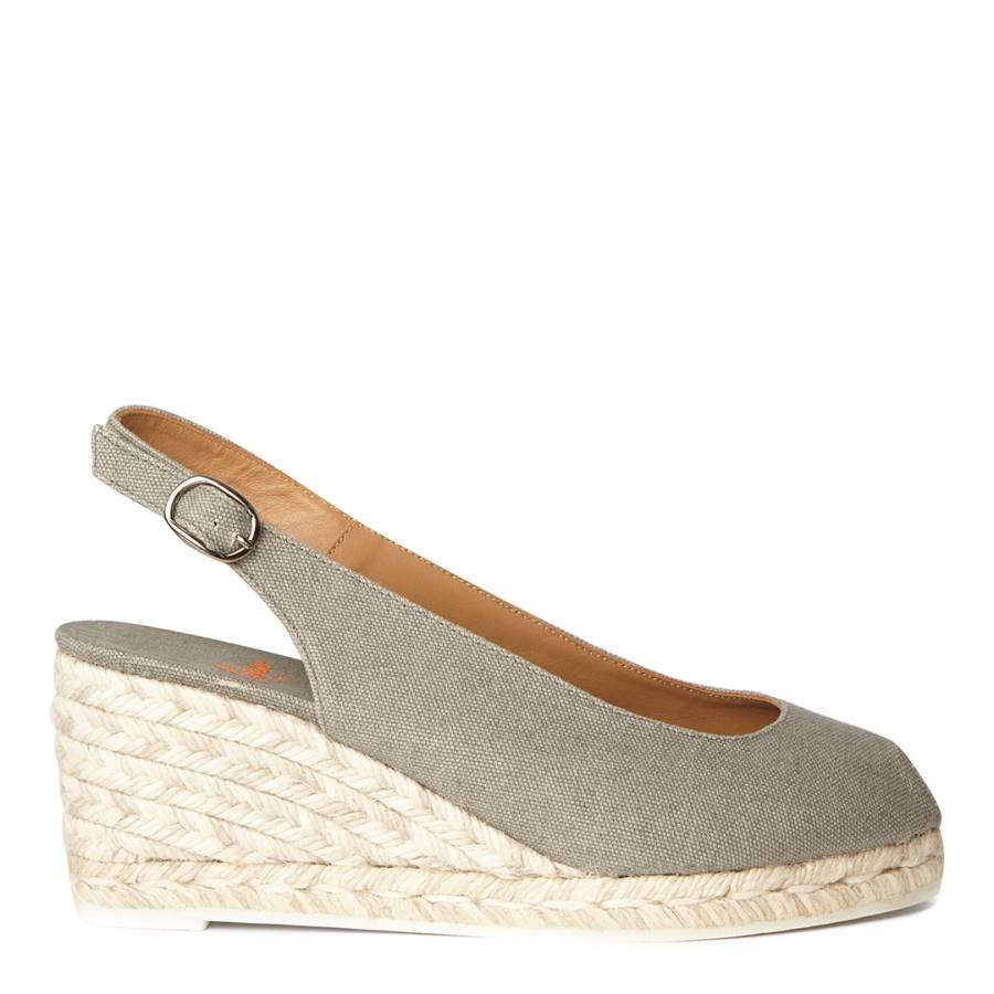 45829ee2b Grey Canvas Peep Toe Beli Wedge Espadrilles - BrandAlley