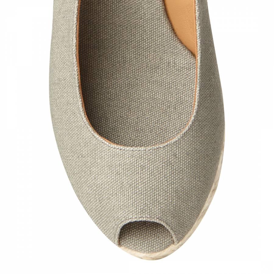 ef984beaa10 Grey Canvas Peep Toe Beli Wedge Espadrilles - BrandAlley