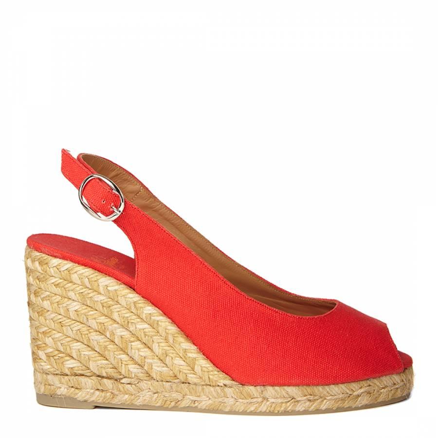 b7c86535735 Red Canvas Peep Toe Beli Wedge Espadrilles - BrandAlley