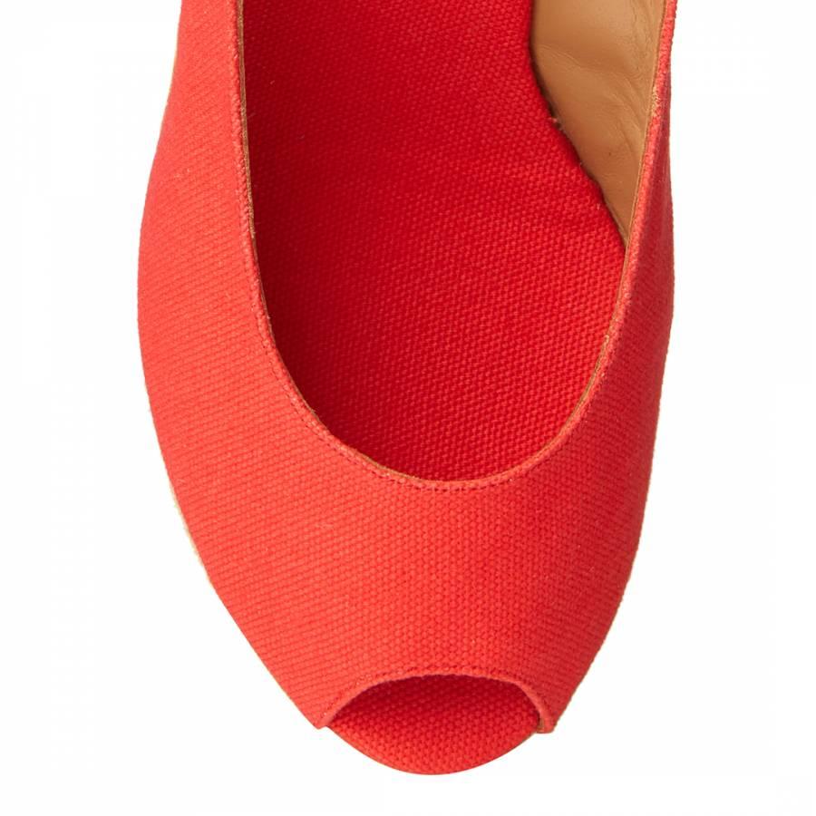 aaad85de809 Red Canvas Peep Toe Beli Wedge Espadrilles - BrandAlley