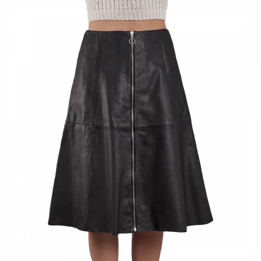 c648a443f Black Leather Lotus Skirt - BrandAlley