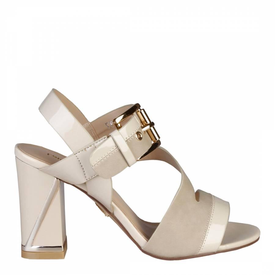 8ec523f23c4 Laura Biagiotti Patent Beige Leather Buckle Front Block Heel Sandals