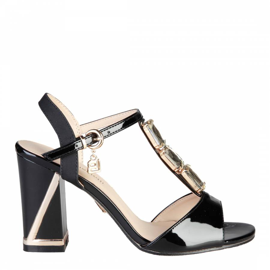 0e6a8aea923a8 Laura Biagiotti Patent Black Leather Jewel Front T Bar Sandals