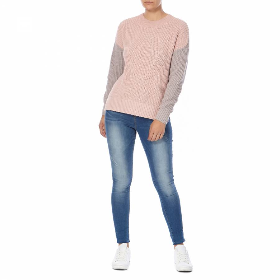 a0dbf1cab669 Dusty Pink/Grey Colour Block Rib Knit Jumper - BrandAlley
