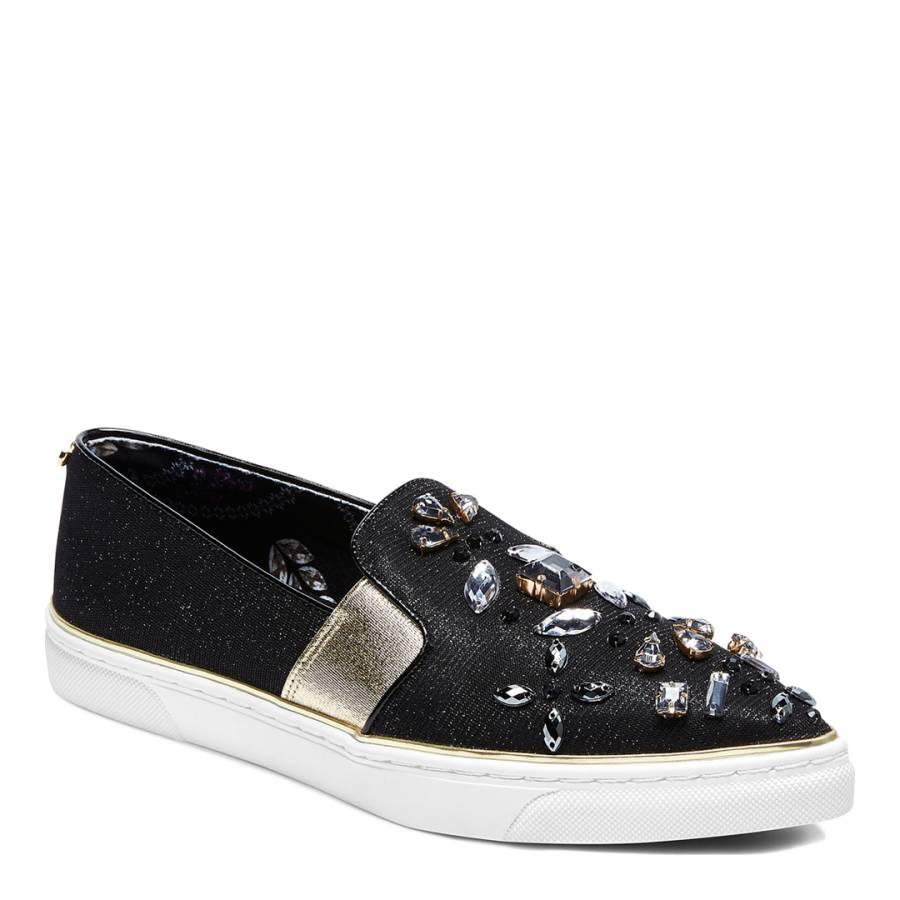 Black Embellished Thfia Pointed Toe Slip On Sneakers
