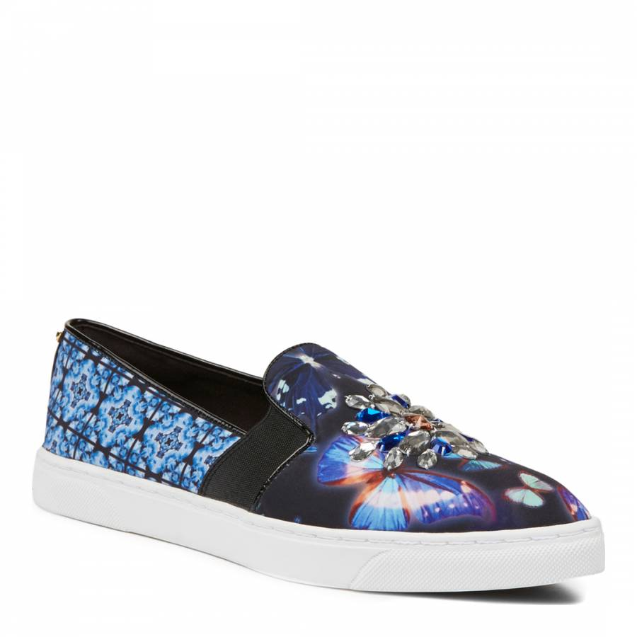 c5018628e887c6 Blue Butterfly Print Gheyn Slip On Sneakers - BrandAlley