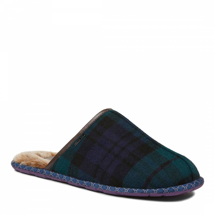 9e598c9dc8de6 Dark Green And Blue Youngi Fur Lined Mule Slippers - BrandAlley