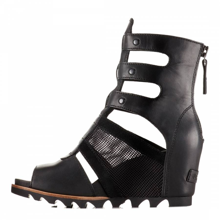6d226a7acfff Women s Black Leather Joanie Gladiator Wedge Sandals - BrandAlley