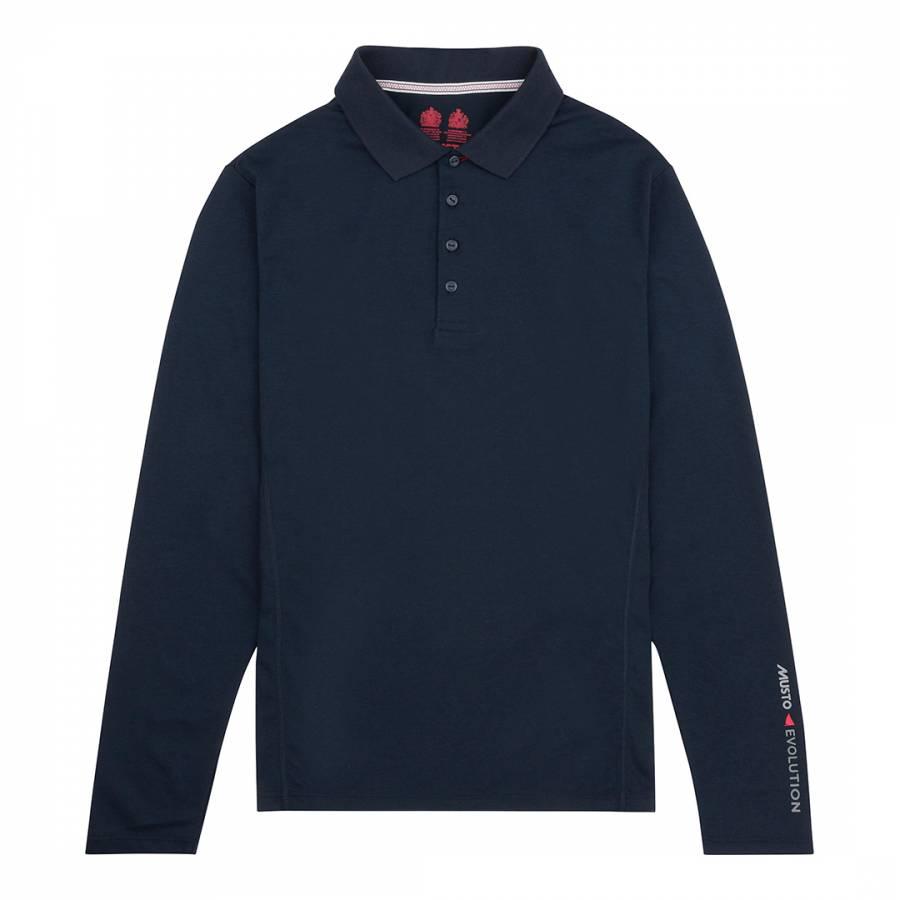 True Navy Cotton Blend Evolution Sunblock Long Sleeve Polo