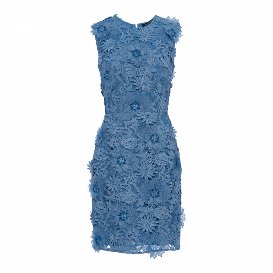db8fee985e44b French Connection Blue Manzoni 3D Floral Lace Dress
