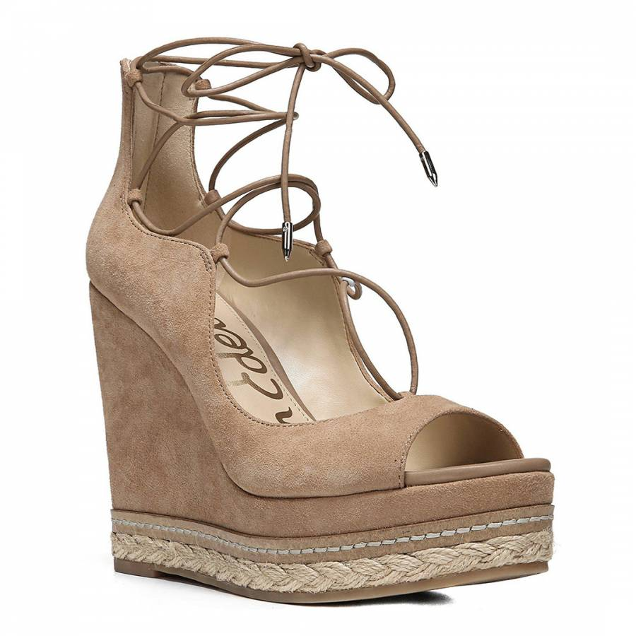 f179bbe1ebb4a3 Golden Caramel Suede Blend Harriet Lace Up Wedge - BrandAlley