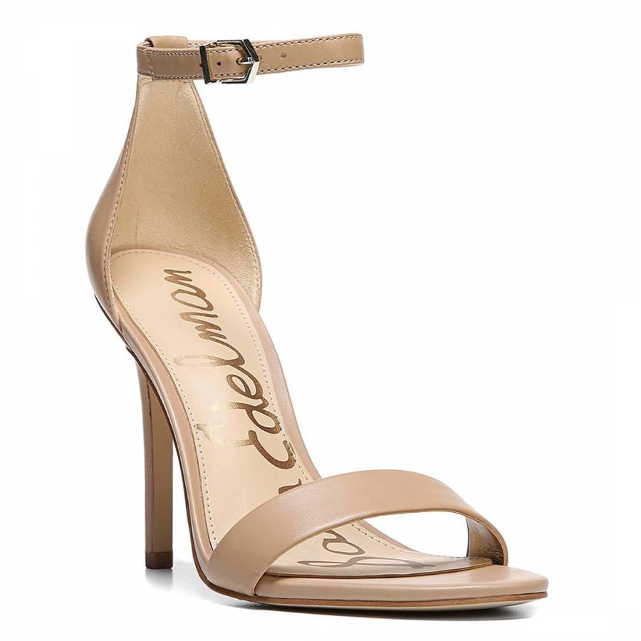 Sam Edelman Nude Leather Blend Amee Ankle Strap Heel Sandal