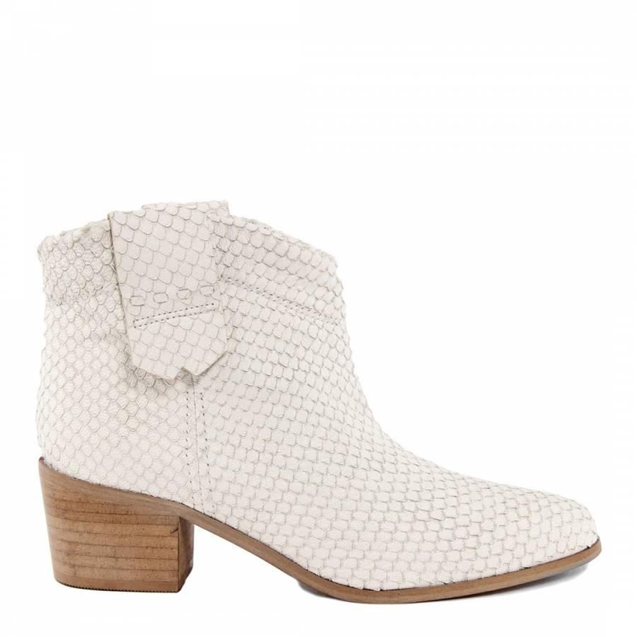 6c41e4fa9585 White Leather Reptile Printed Ankle Boots - BrandAlley