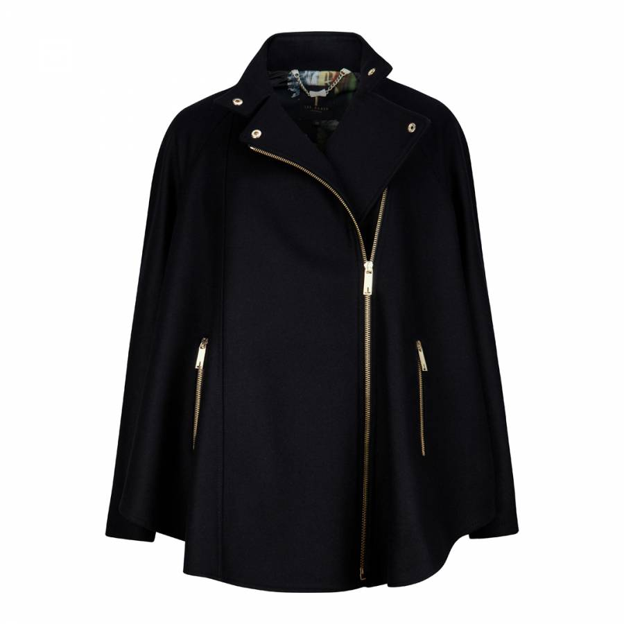 fa7ef0b87034c Black Wool and Cashmere Cape Jacket - BrandAlley