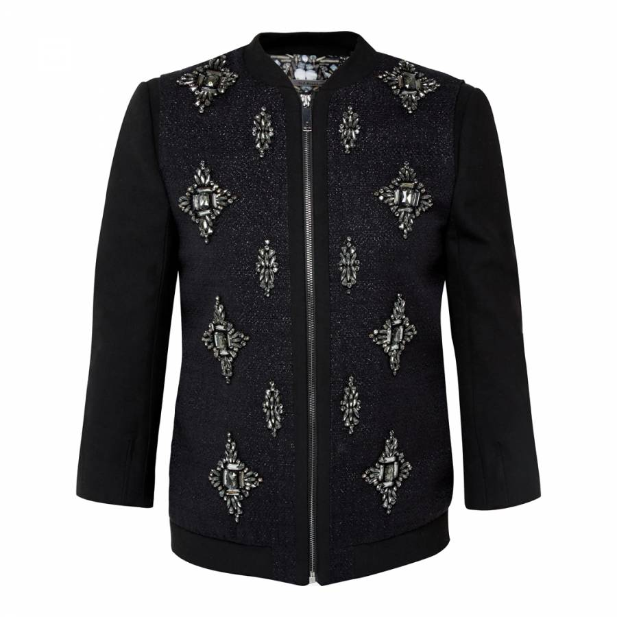 6c2558815 Black Embellished Bomber Jacket - BrandAlley