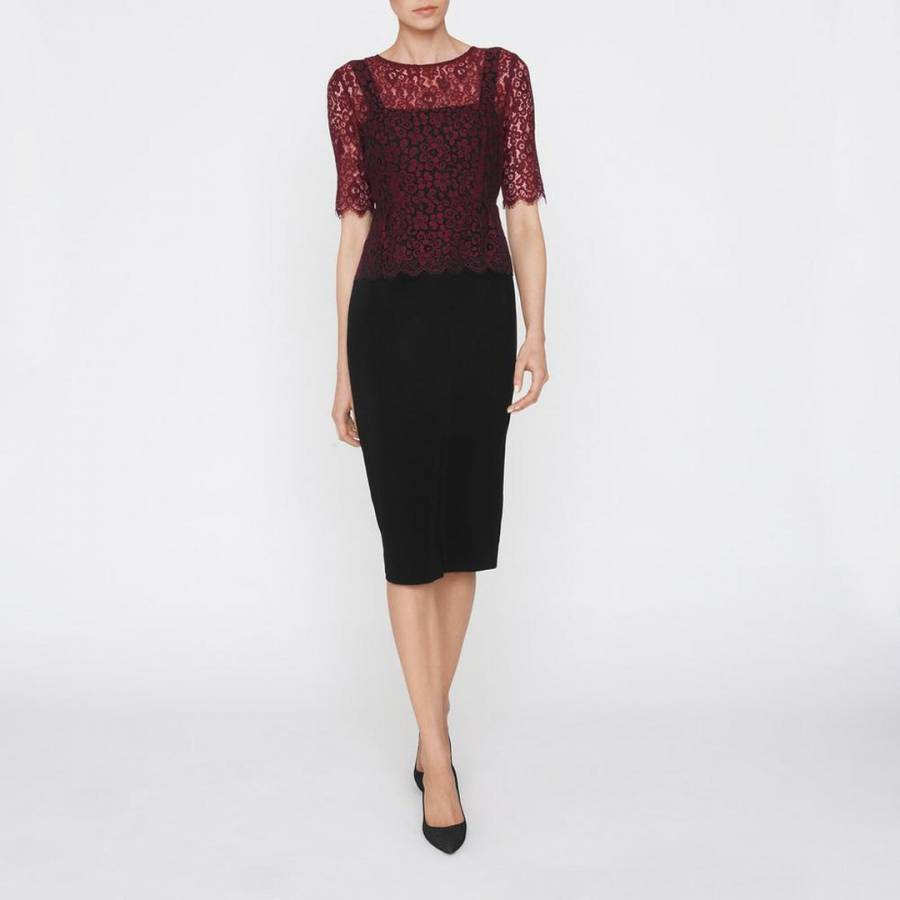 BNWT - L K Bennett Black Plum Peplum Cocktail Dress Uk size 10, 12 ...
