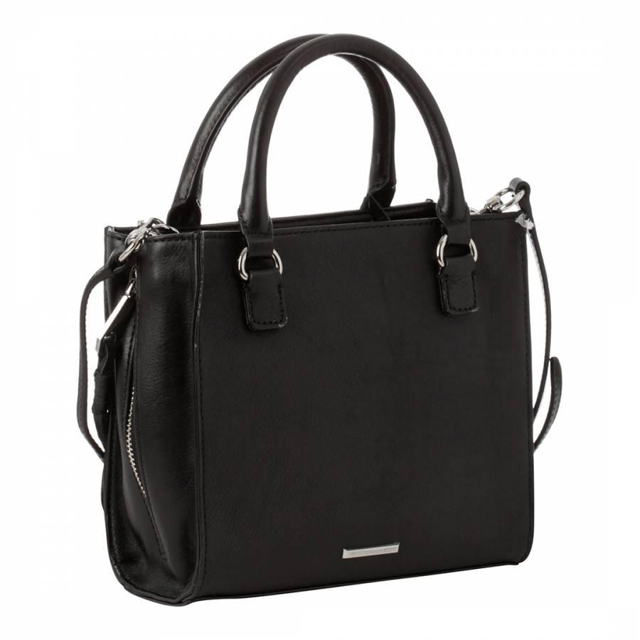 Black Leather Mini Regan Side Zip Tote Bag Brandalley