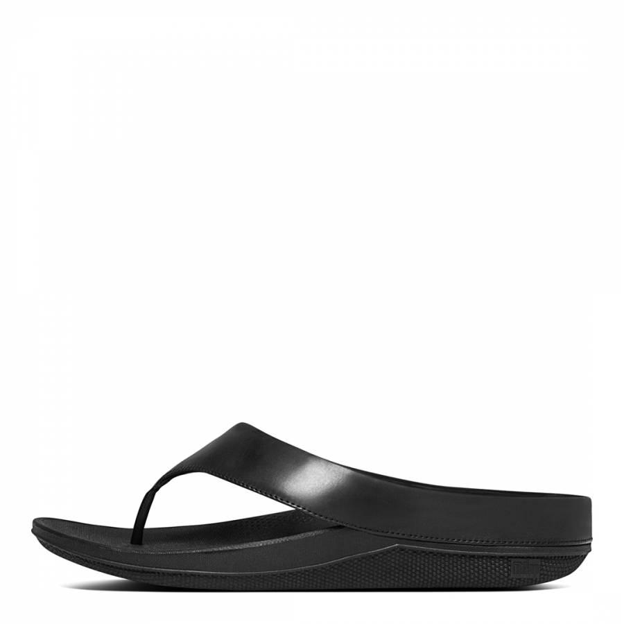 f6e21455f Black Leather Blend Superlight Ringer Toe Post Flip Flops - BrandAlley