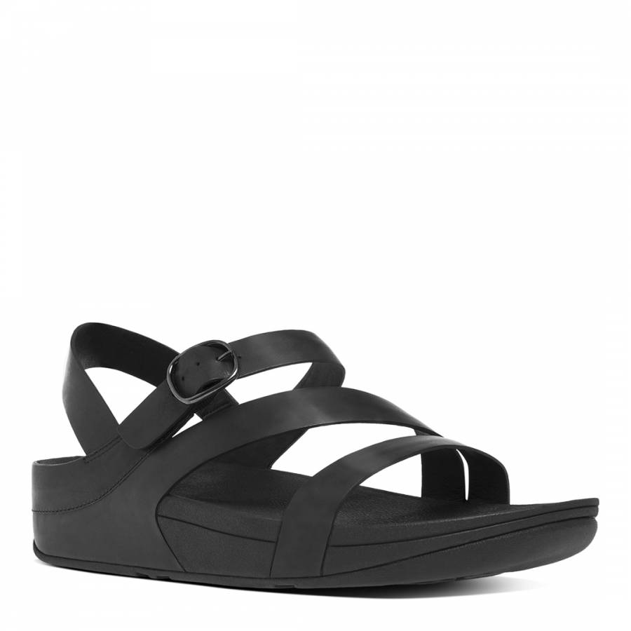 e37f9c069f81f1 All Black Leather Blend Skinny Z Strap Sandals - BrandAlley
