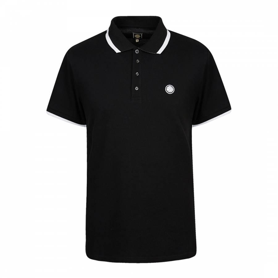 Black cotton multistripe polo shirt brandalley for Black cotton polo shirt