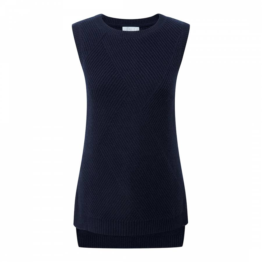 a1f2c0b8a251de Pure Collection Navy Cashmere Textured Tank